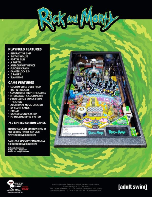 Rick & Morty Pinball flyer back